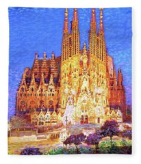Sagrada Familia At Night Fleece Blanket