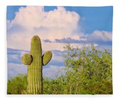 Saguaro And Mesquite In Monsoon Season Fleece Blanket