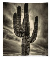 Saguaro And Storm Clouds Fleece Blanket