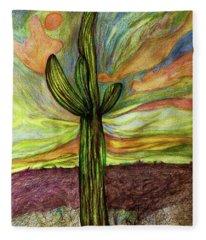 Saguaro Cactus Fleece Blanket