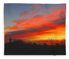 Saguaro Winter Sunrise Fleece Blanket