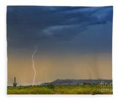 Saguaro With Lightning Fleece Blanket
