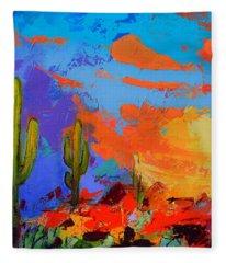 Saguaros Land Sunset By Elise Palmigiani - Square Version Fleece Blanket