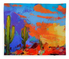 Saguaros Land Sunset By Elise Palmigiani - Square Version Fleece Blanket