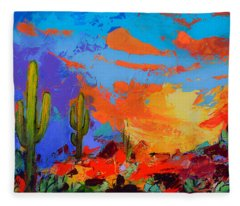 Saguaros Land Sunset Fleece Blanket
