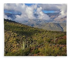 Saguarros And Mountains Fleece Blanket