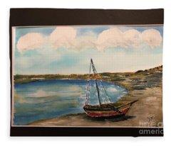 Sail Boat On Shore Fleece Blanket