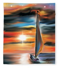 Sailboat And Sunset Fleece Blanket