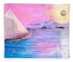 Sailboat In Pink Moonlight  Fleece Blanket