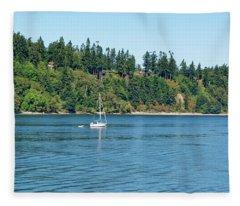 Sailboat Near San Juan Islands Fleece Blanket