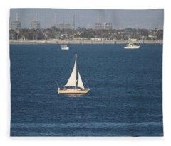 Sailboat On The Pacific In Long Beach Fleece Blanket