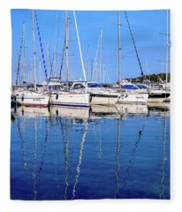 Sailboat Reflections - Rovinj, Croatia  Fleece Blanket