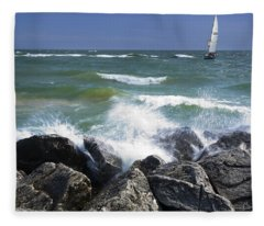 Sailboat Sailing Off The Shore At Ottawa Beach State Park Fleece Blanket