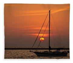 Sailboat Sunrise Chicago Fleece Blanket