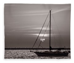 Sailboat Sunrise In B And W Fleece Blanket