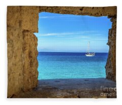 Sailboat Through The Old Stone Walls Of Rhodes, Greece Fleece Blanket
