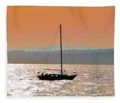 Sailboat With Bike Fleece Blanket