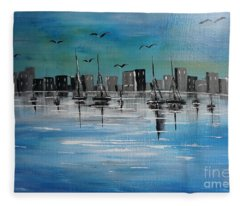 Sailboats And Cityscape Fleece Blanket
