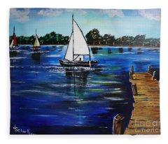 Sailboats And Pier Fleece Blanket