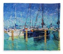 Sailboats At Balatonfured Fleece Blanket