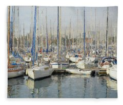 Sailboats At The Dock - Painting Fleece Blanket