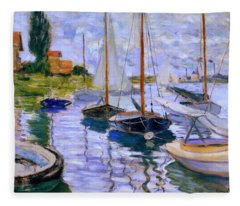 Sailboats On The Seine At Petit Gennevilliers Claude Monet 1874 Fleece Blanket