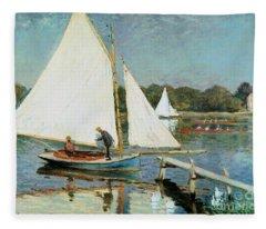 Sailing At Argenteuil Fleece Blanket