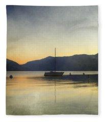 Sailing Boat In The Sunset Fleece Blanket