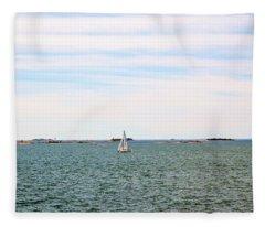 Sailing Boats In Summer Fleece Blanket