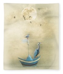Sailing By The Moon Fleece Blanket