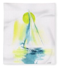 Sailing By The Yellow Moon Fleece Blanket