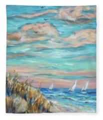 Sailing Close To Shore Fleece Blanket