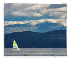 Sailing Flathead Lake Fleece Blanket