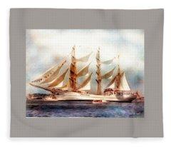 Sailing Into Boston Harbor Fleece Blanket