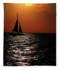 Sailing Into The Sunset Fleece Blanket