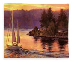 Sailing On The Sound Fleece Blanket