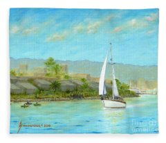 Sailing Out To Sea Fleece Blanket