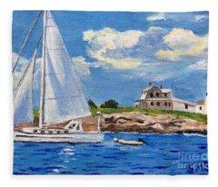 Sailing Past Wood Island Lighthouse Fleece Blanket