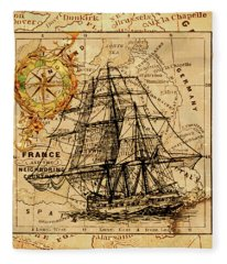 Sailing Ship Map Fleece Blanket
