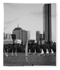 Sailing The Charles River Boston Ma Black And White Fleece Blanket