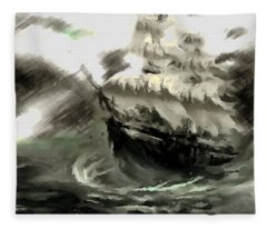 Sailing The Stormy Seas Fleece Blanket