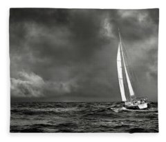 Sailing The Wine Dark Sea In Black And White Fleece Blanket
