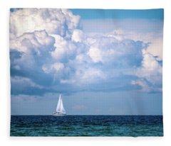 Sailing Under The Clouds Fleece Blanket