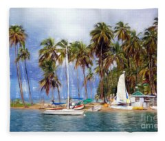 Sails And Palms Fleece Blanket