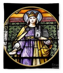 Saint Adelaide Stained Glass Window In The Round Fleece Blanket