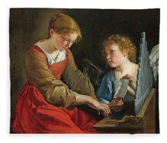 Saint Cecilia And An Angel Fleece Blanket