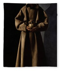 Saint Francis Of Assisi In His Tomb Fleece Blanket