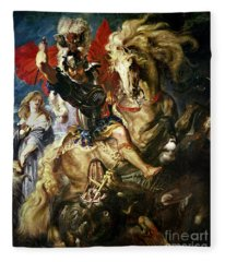 Saint George And The Dragon Fleece Blanket