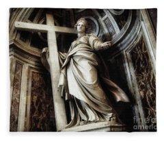 Saint Helena Statue Inside Saint Peter S Basilica Rome Italy Fleece Blanket