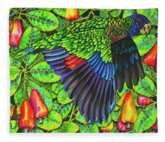 Saint Lucia Amazona Versicolor Parrot Fleece Blanket